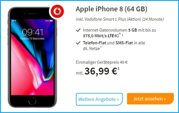 Apple iPhone 8 + Vodafone Smart L Plus bei Preis24
