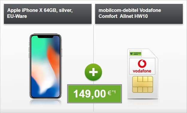 Apple iPhone X + Vodafone Comfort Allnet bei modeo