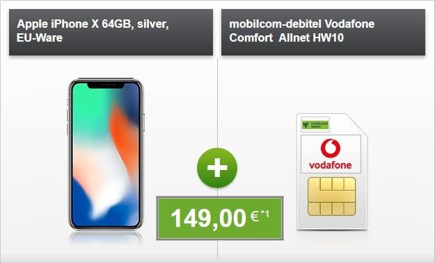 Apple iPhone X + Vodafone Comfort Allnet bei modeo
