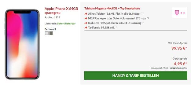 iPhone X mit Telekom Magenta Mobil XL