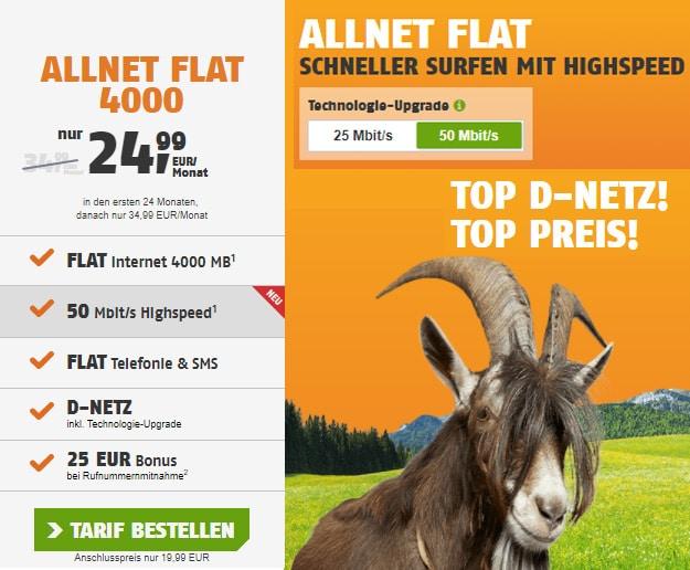 klarmobil Allnet Flat 4000 LTE im Telekom-Netz