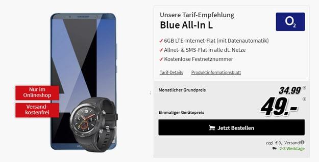 Huawei Mate 10 Pro mit o2 All-In L + gratis Huawei Watch 2