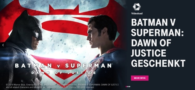 Telekom Mega Deal Batman vs Superman bei Videoload