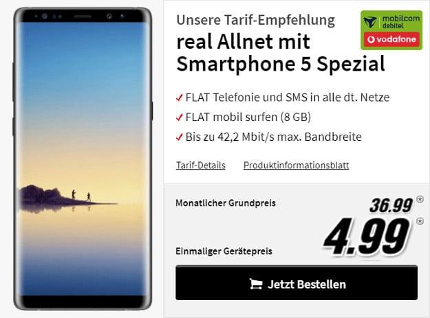 Samsung Galaxy Note mit real Allnet Vodafone-Netz
