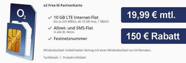 o2 Free M Partnerkarte bei Sparhandy für 19,99 € mit 150 € Rabatt
