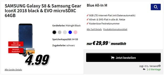 Samsung Galaxy S8 mit o2 Blue All-In M