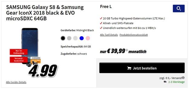 Samsung Galaxy S8 / S8 Plus mit o2 Free L