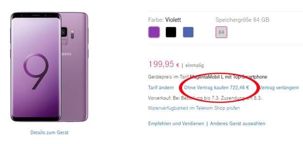 Samsung Galaxy S9 bei der Deutschen Telekom ohne Vertrag kaufen