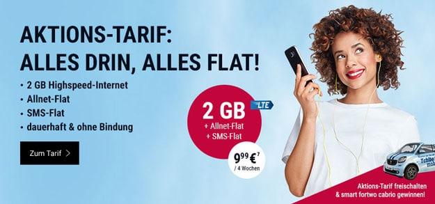 Tchibo Mobil Aktions-Tarif für 9,99 € je 4 Wochen mit 2 GB LTE und Allnet-Flat