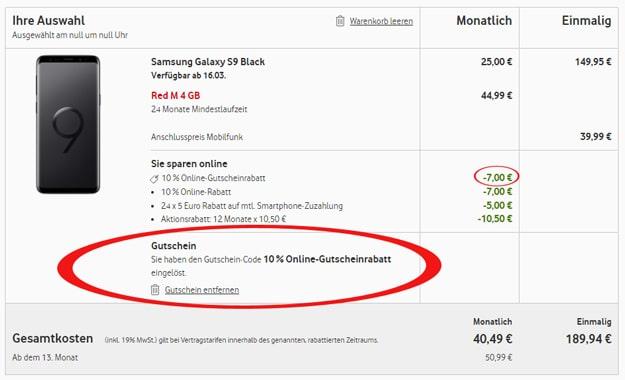 Vodafone Online-Vorteil Aktion mit Gutscheincode für Red-Tarife