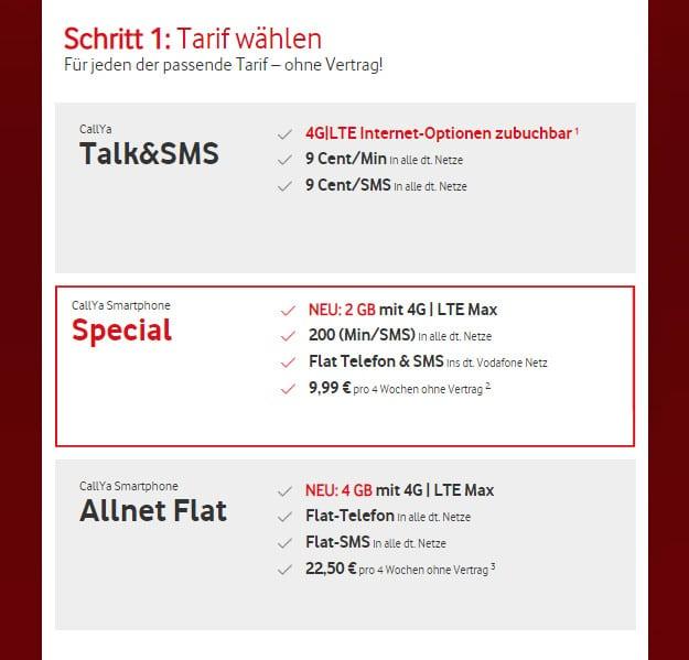Vodafone CallYa Freikarte Prepaid Tarif