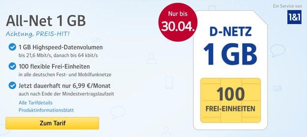 1&1 Web.de mit 100 flexiblen Frei-Einheiten und dauerhaft nur 5,99 € pro Monat