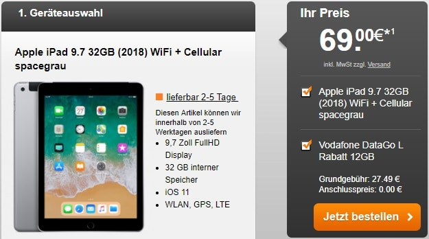 Apple iPad 9.7 (2018) LTE + Vodafone Data Go L bei HandyFlash