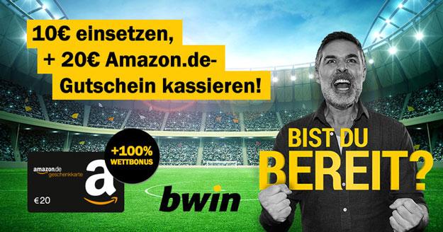 bwin Bonus-Deal: 10 € einsetzen und 20 € Amazon-Gutschein abstauben + 100 % Bonus für Neukunden