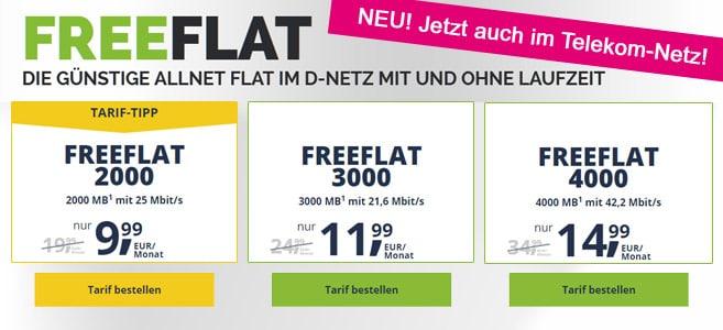 freeFLAT Allnet-Flats jetzt auch im Telekom-Netz
