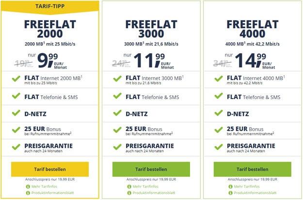 freeFLAT ab 9,99 € mtl. (Allnet-Flat, SMS-Flat, bis 4 GB, Telekom- / Vodafone-Netz)