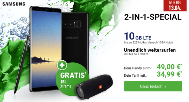 Samsung Galaxy Note 8 + o2 Free M bei DeinHandy