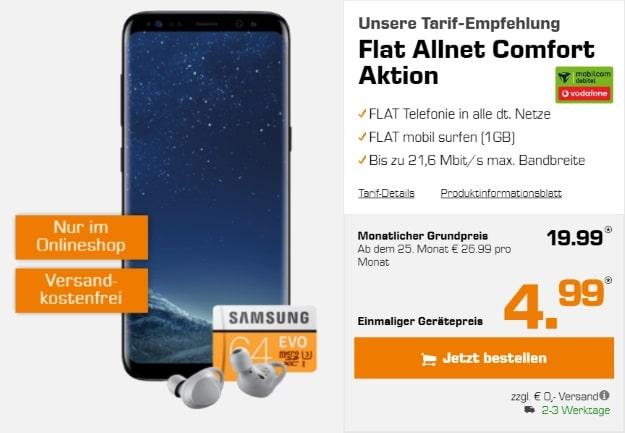 Samsung Galaxy S8 + Samsung Gear IconX 2018 + 64GB microSD + Vodafone Flat Allnet Comfort (md) bei Saturn