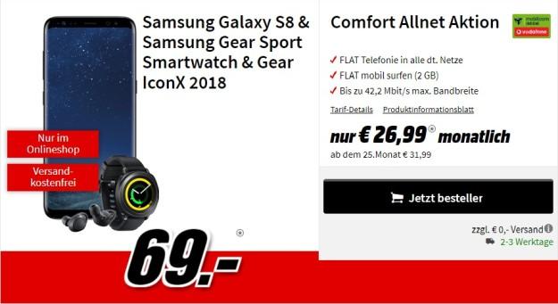 Samsung Galaxy S8 + Gear IconX 2018 + Gear Sport + Vodafone Comfort Allnet