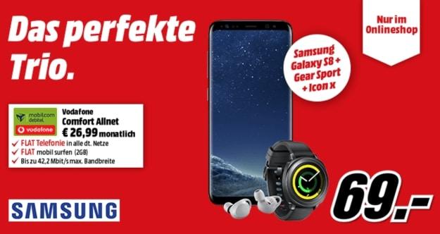 Samsung Galaxy S8 + Samsung Gear IconX 2018 + Samsung Gear Sport + Vodafone Comfort Allnet bei MediaMarkt