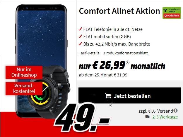 Samsung Galaxy S8 + Samsung Gear Sports + Vodafone Comfort Allnet (md) bei MediaMarkt