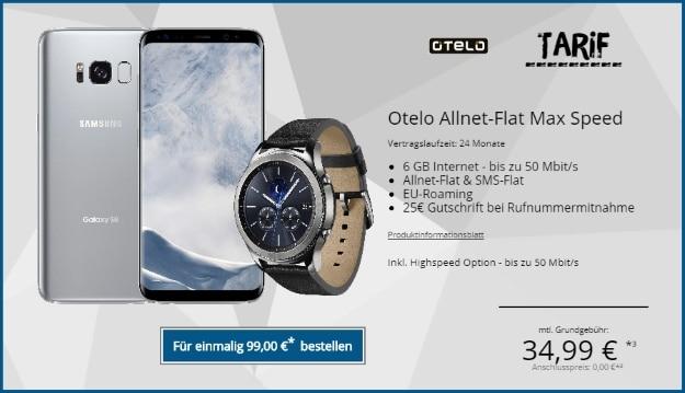 Samsung Galaxy S8 + Samsung Gear S3 Classic + otelo Allnet-Flat Max Speed bei Tophandy