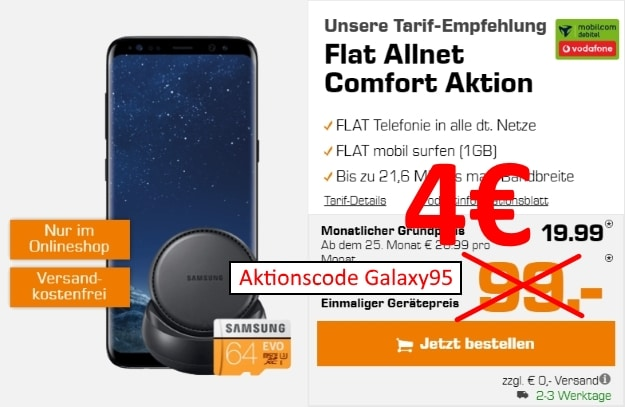 Samsung Galaxy S8 + Samsung DeX + Samsung EVO 64GB microSD + Vodafone Flat Allnet Comfort (md) bei Saturn