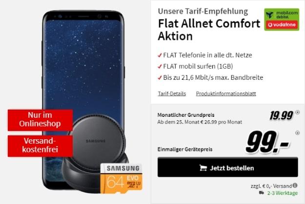 Samsung Galaxy S8 + Samsung DeX + 64GB Samsung EVO microSD + Vodafone Flat Allnet Comfort (md) bei MediaMarkt