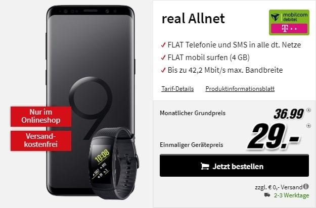 Samsung Galaxy S9 + Samsung Gear Fit2 Pro + mobilcom-debitel real Allnet (Telekom) bei MediaMarkt