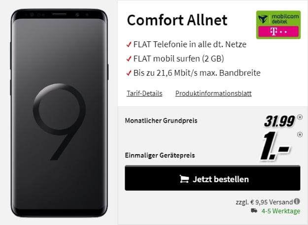 Samsung Galaxy S9 Plus + mobilcom-debitel Comfort Allnet (Telekom-Netz) bei MediaMarkt