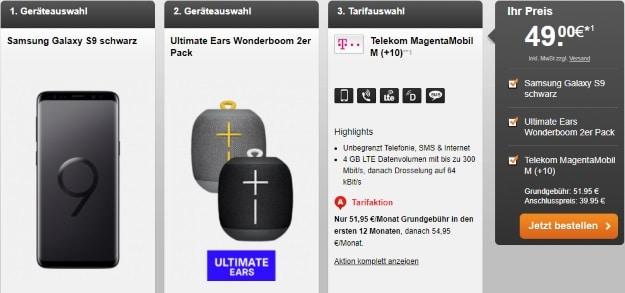 Samsung Galaxy S9 + UE Wonderboom + Telekom Magenta Mobil M bei Handyflash