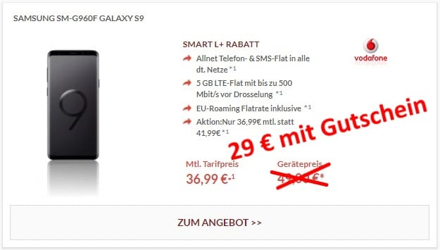 Samsung Galaxy S9 + Vodafone Smart L Plus bei Preisboerse24