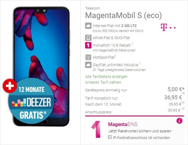 Huawei P20 + Telekom Magenta Mobil S bei DeinHandy