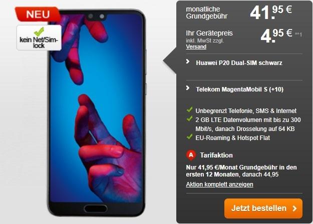 Huawei P20 + Telekom Magenta Mobil S bei Handyflash