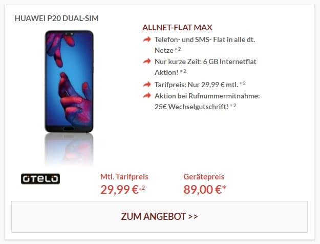 Huawei P20 + otelo Allnet-Flat Max bei Preisboerse24