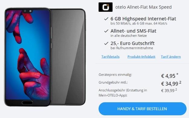 Huawei P20 + otelo Allnet-Flat Max Speed bei Sparhandy
