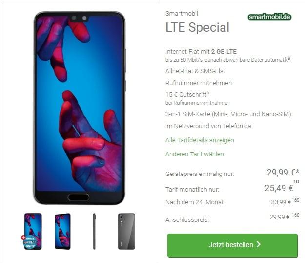 Huawei P20 / P20 Pro + smartmobile LTE Special bei DeinHandy
