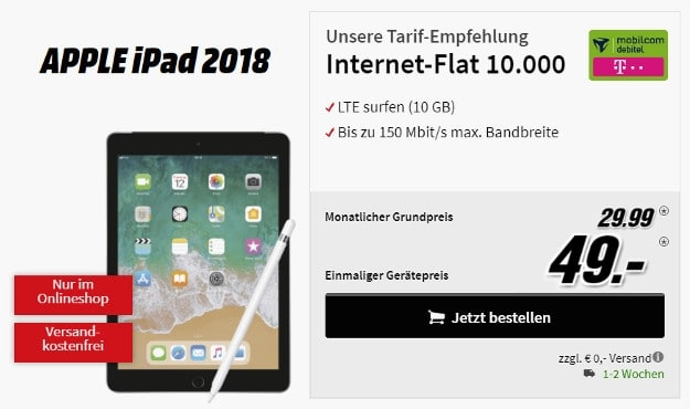 Apple iPad (2018) LTE 128GB + mobilcom-debitel Internetflat 10.000 im Telekom-Netz bei MediaMarkt