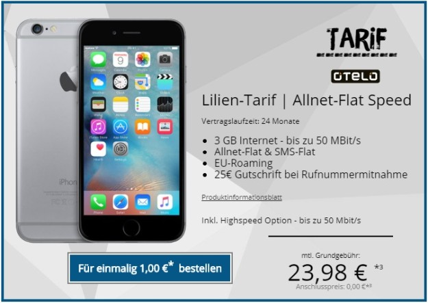 Apple iPhone 6 + otelo Lilien-Tarif ALlnet-Flat Speed bei Tophandy