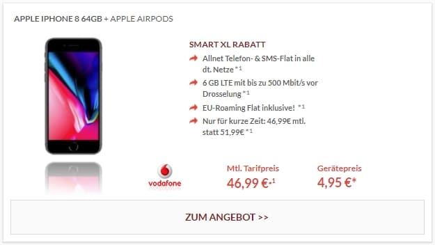 Apple iPhone 8 64GB + Apple AirPods + Vodafone Smart XL bei Preisboerse24