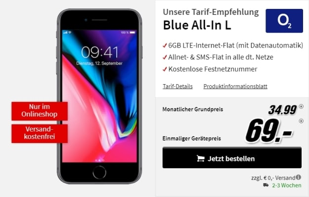 Apple iPhone 8 64GB + o2 Blue All-in L bei MediaMarkt