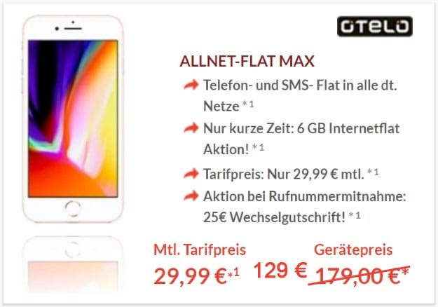 Apple iPhone 8 64GB + otelo Allnet-Flat Max bei Preisboerse24