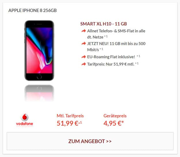 Apple iphone 8 256GB mit Vodafone Smart XL
