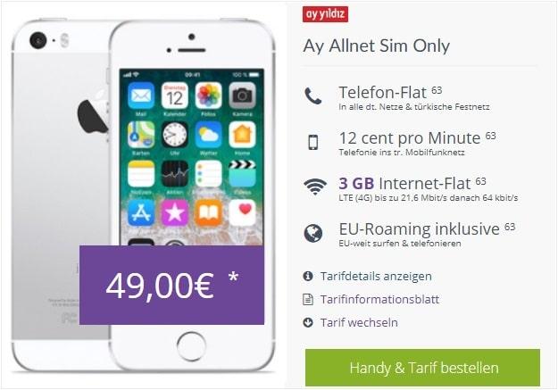 Apple iPhone SE + Ay Yildiz Ay Allnet bei FLYmobile