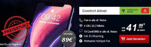 Apple iPhone X 64GB + Vodafone Comfort Allnet (mobilcom-debitel) bei HandyTick