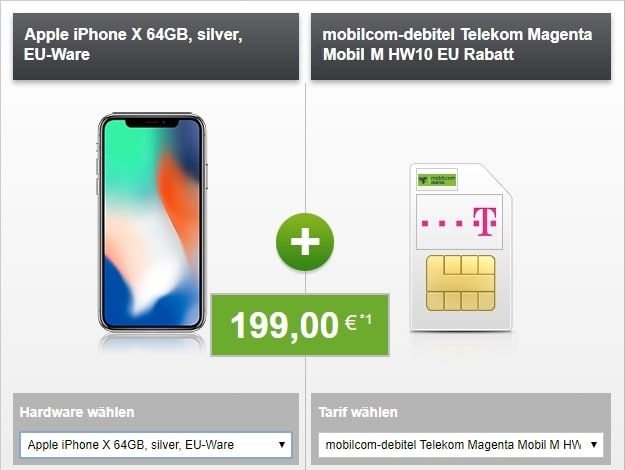 Apple iPhone X + Telekom Magenta Mobil M (md) bei Modeo