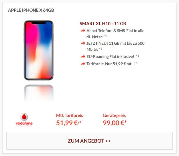 Apple iPhone X mit Vodafone Smart XL und 11 GB LTE