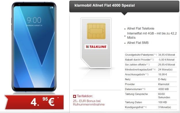 LG V30 + klarmobil Allnet-Flat 4000 Spezial bei talkline