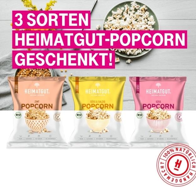 Telekom-Megadeal mit drei Tüten Bio-Popcorn von Heimatgut gratis