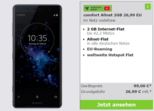 Sony Xperia XZ mit Vodafone Comfort Allnet